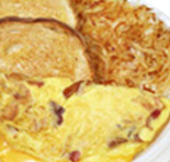 omelete with hash browns and toast